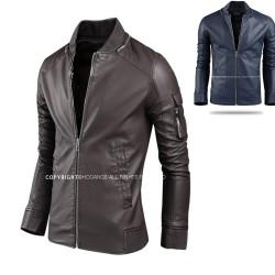 men's leather jacket wrinkle collar wallet sleeve