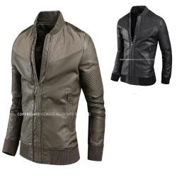men's leather jacket velboa woven shoulder