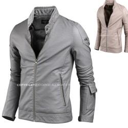 men's leather jacket velboa men's leather jacket velboa diagonal wrist pocket