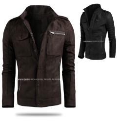 men's leather jacket suede double breast