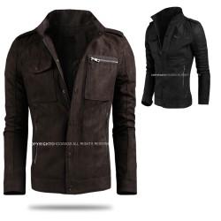 vīriešu ādas jaka plaisa mazgā braucējs