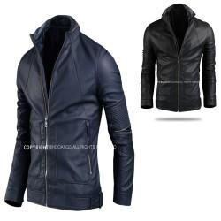 men's leather jacket open zipper sleeve biker