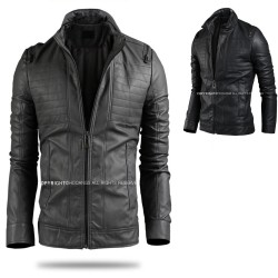 men's leather jacket button double breast pocket