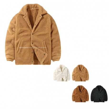 men's snap button fleece fur jacket