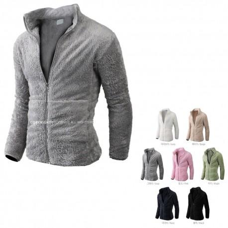men's fleece fur jacket basic zip up