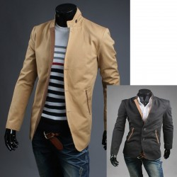 Chine col 3 boutons Blazer manteau hommes