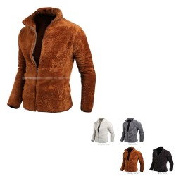 men's fleece pile fur jacket