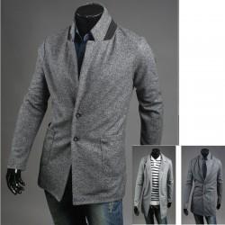 мужская основная кнопка шерсти пальто 2