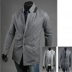 мъжки основния бутон вълнено палто 2