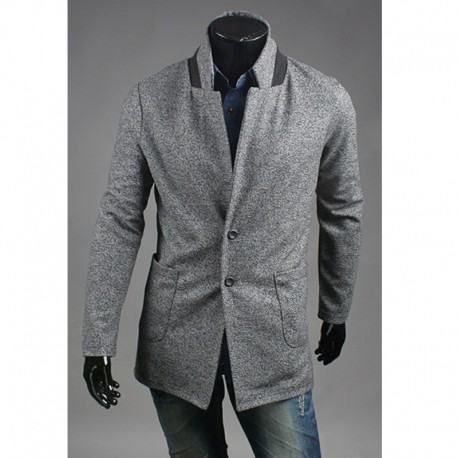 men's basic wool coat 2 button