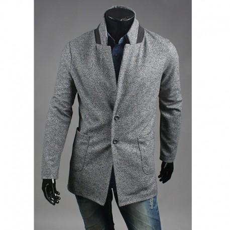 чоловічий основна кнопка вовни пальто 2