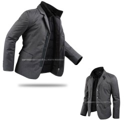 mens padding jacket silver 3 button double zipup