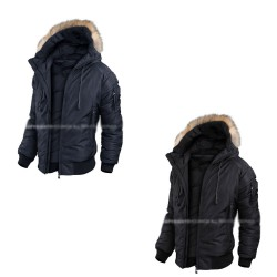 mens padding jacket raccoon fur short