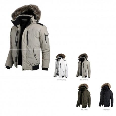 mens padding jacket raccoon fuxe fur double breast zipper