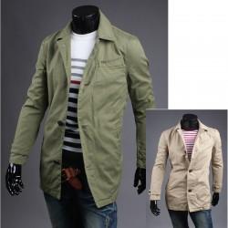 τάφρου γιακά παλτό denim ανδρών