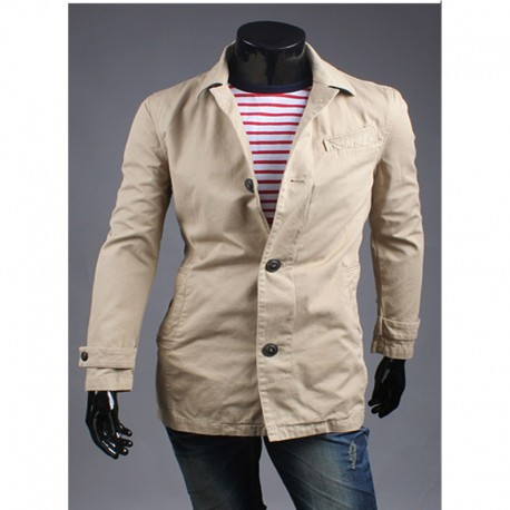men's trench coat denim collar