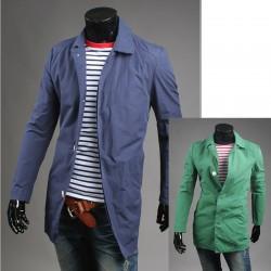 mænds trench lang frakke skjult knap