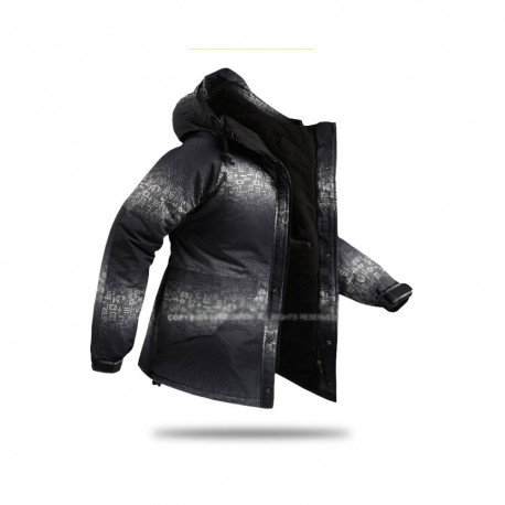 mens snow board down jacket hieroglyphics black and white