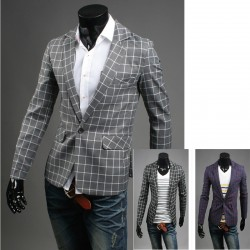 men's check the grid blazer