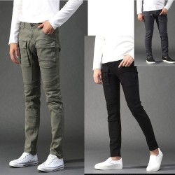 men's span cargo pants span skinny biker double pocket