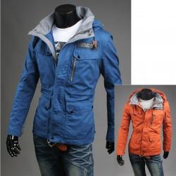 pánská vojenská bunda s kapucí oranžová
