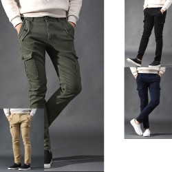 men's span cargo pants button front pocket