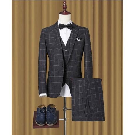 men's suit deep grey check slim fit