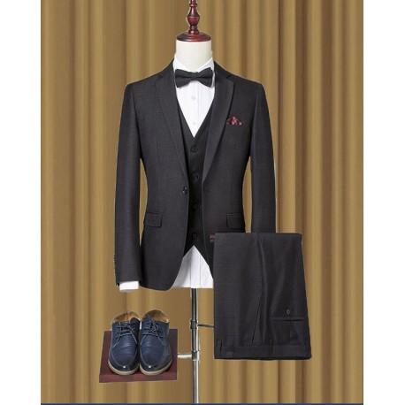 men's suit essential black check 2button