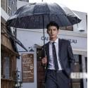 men's suit 2 button dark grey slim fit