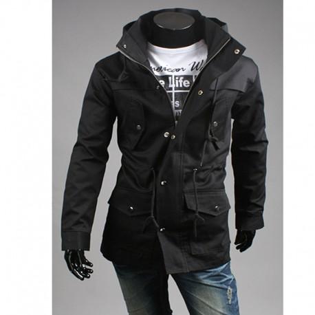 férfi katonai kabát, magas nyakú 2 réteg