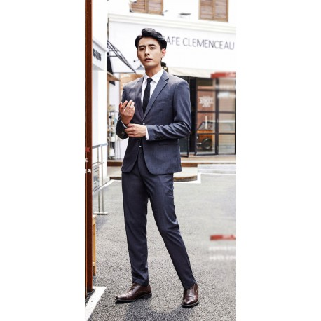 men's suit 2 button grey jacket slim fit