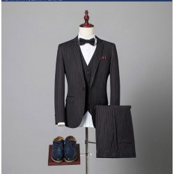 men's suit multi stripe 1 button classic