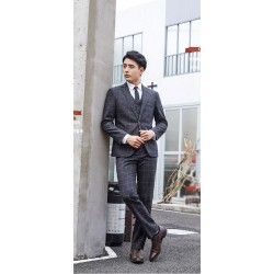 men's suit grey squre check 2 button