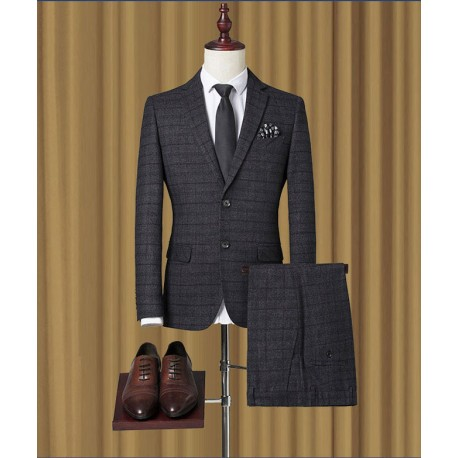 men's suit red check deep grey 2 button