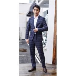 men's suit plaid check pattern navy 1 button
