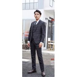 men's suit vector check pattern charcoal 1 button