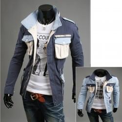 militaire portefeuille veste à double poitrine de ciel de poche pour hommes