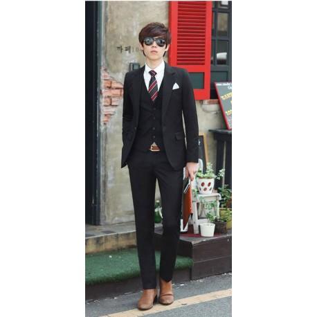 men's suit 1button black slim fit stretch