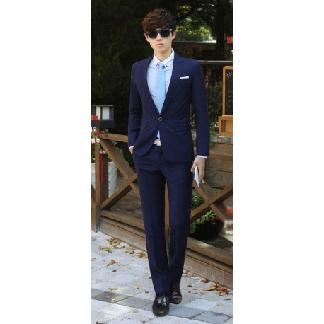 men's suit 1button navy slim fit business