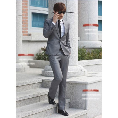men's suit 1 button grey formal