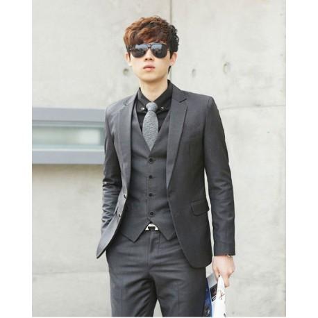 men's suit 2 button dark grey blazer