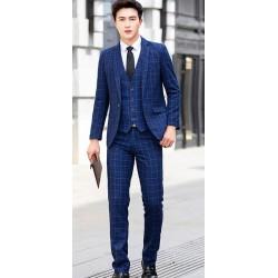 men's suit 1 button first navy check plaid