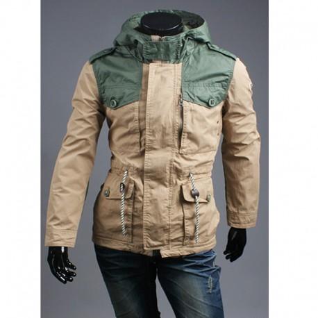 erkekler askeri ceket omuz safari