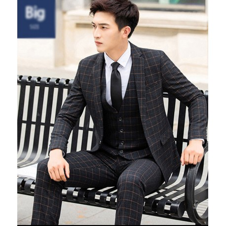 men's suit 1 button first dark grey check plaid