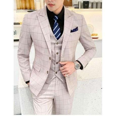 men's suit 2 button beige check plaid high qulity