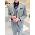 men's suit 2 button grey check plaid high qulity