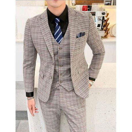 Men S Suit Deep Grey Check Slim Fit Men S Suits