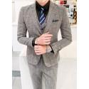 men's suit 2 button plaid vector check brown premium