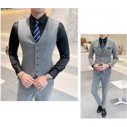 men's suit deep grey check slim fit