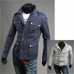 férfi katonai kabát, szürke 4 pénztárca zseb